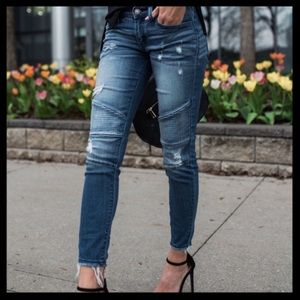KanCan Distressed Piped Moto Skinny Jeans